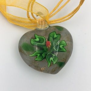 Venetian Murano Glass Floral Heart Necklace